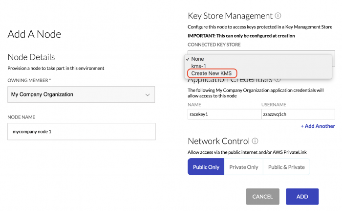 Specify integrations settings for the new node