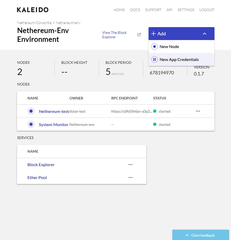 New App Credentials
