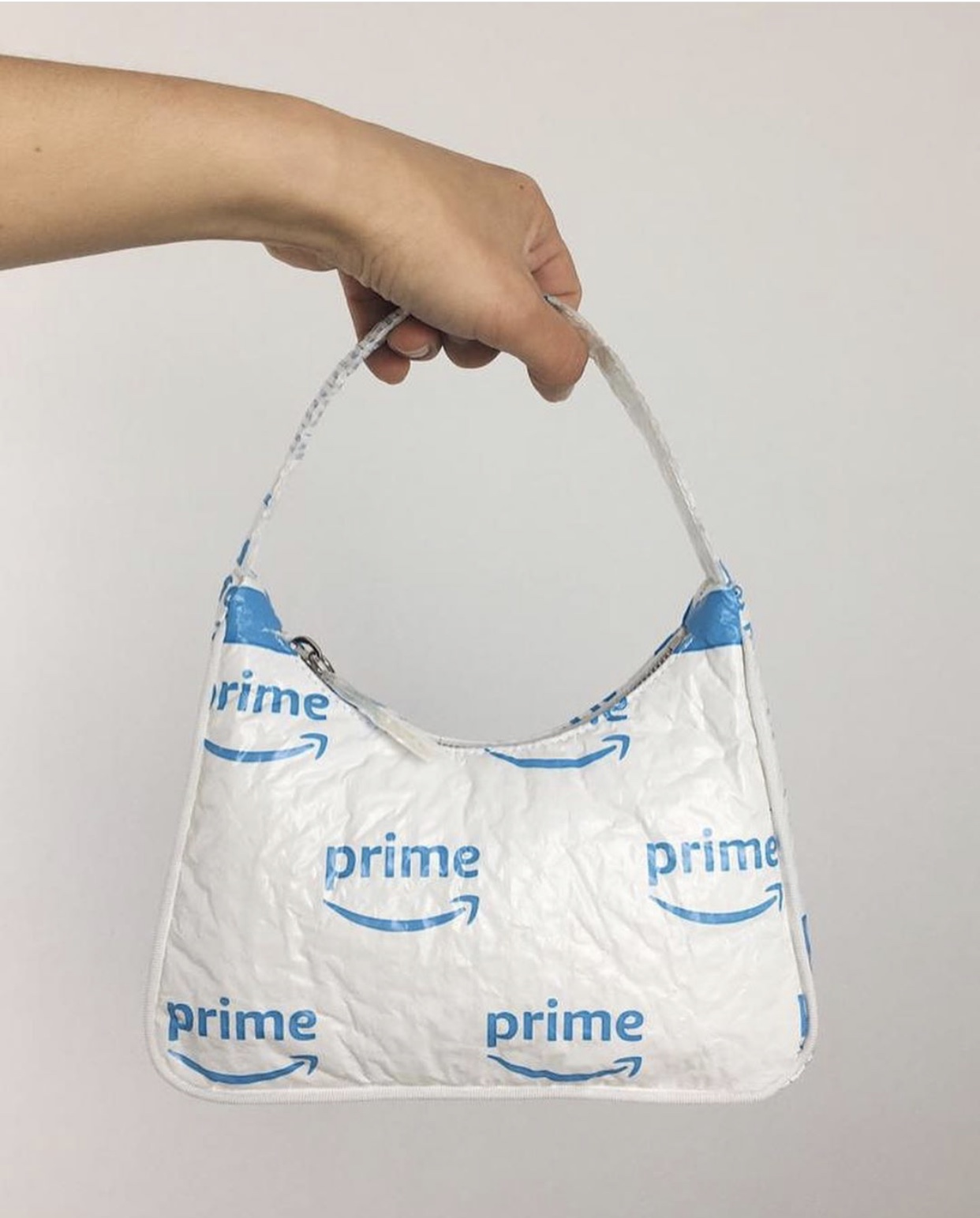 A remake of the prada bag using Amazon packaging