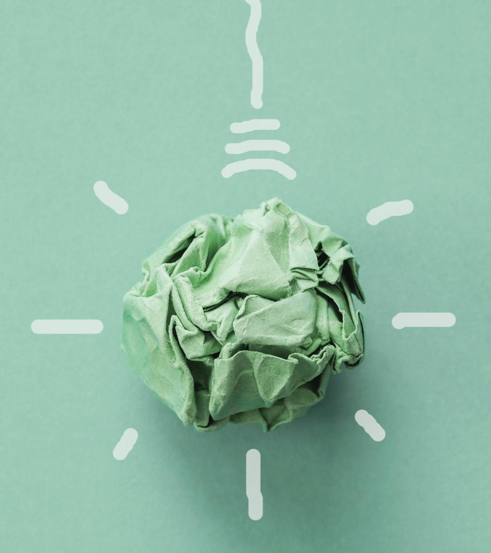 Papirkugle som skal forestille sig at være en pære