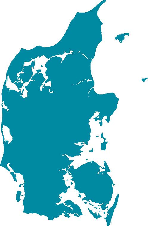 Danmark i verdenskort med turkis blå farve