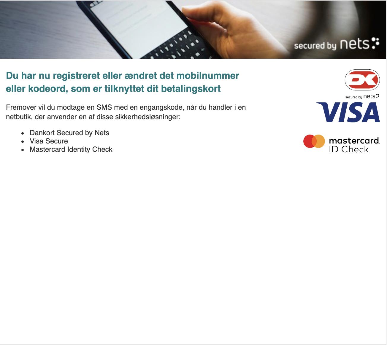 Dokument af registreret mobilnummer eller kodeord på betalingkort er godkendt