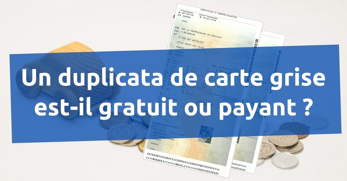 prix duplicata de carte grise en ligne