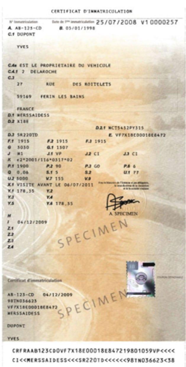carte grise certificat d'immatriculation