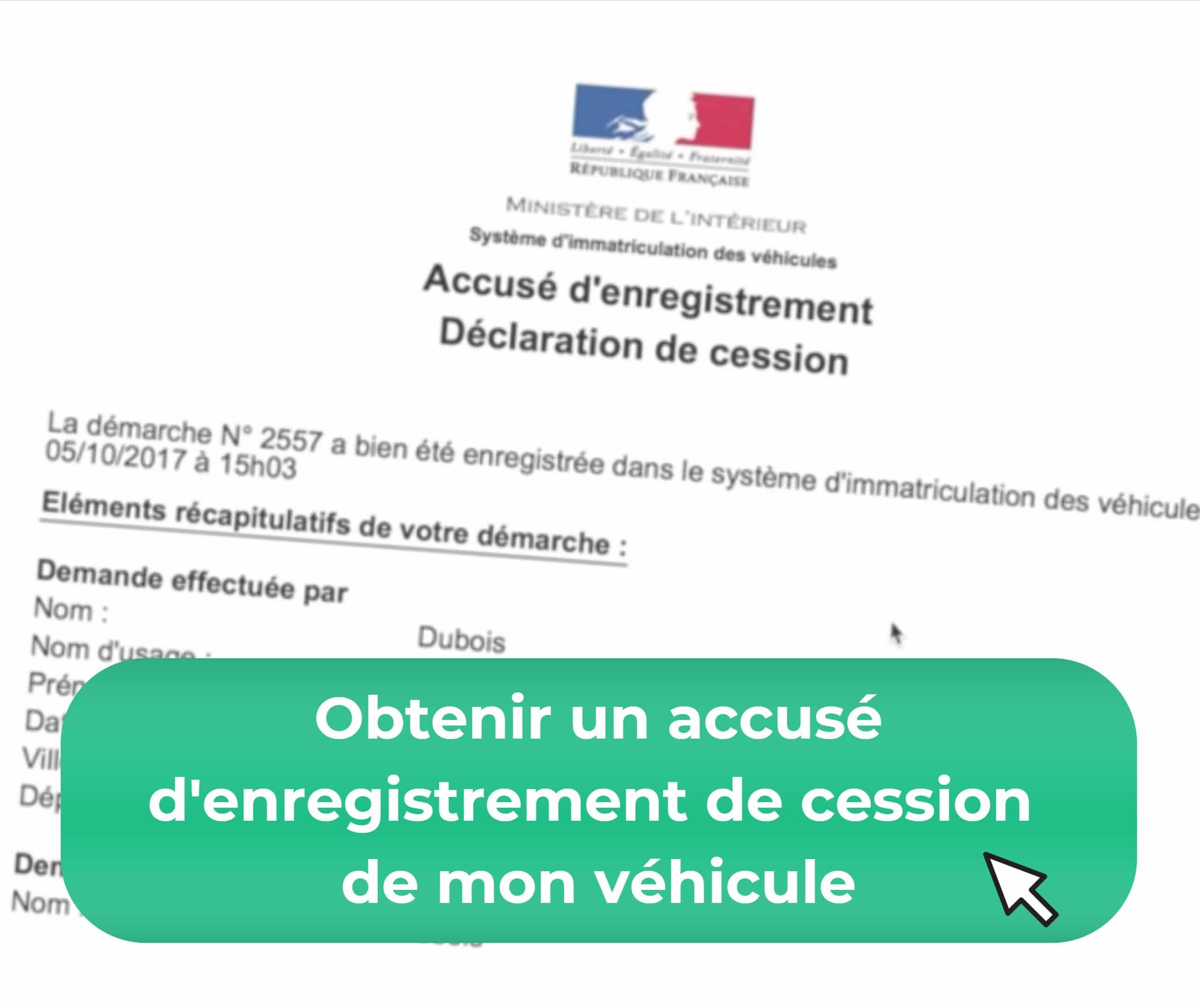 accusé d'enregistrement de cession de véhicule