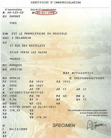 Le Certificat certificat d'immatriculation (carte grise originale)