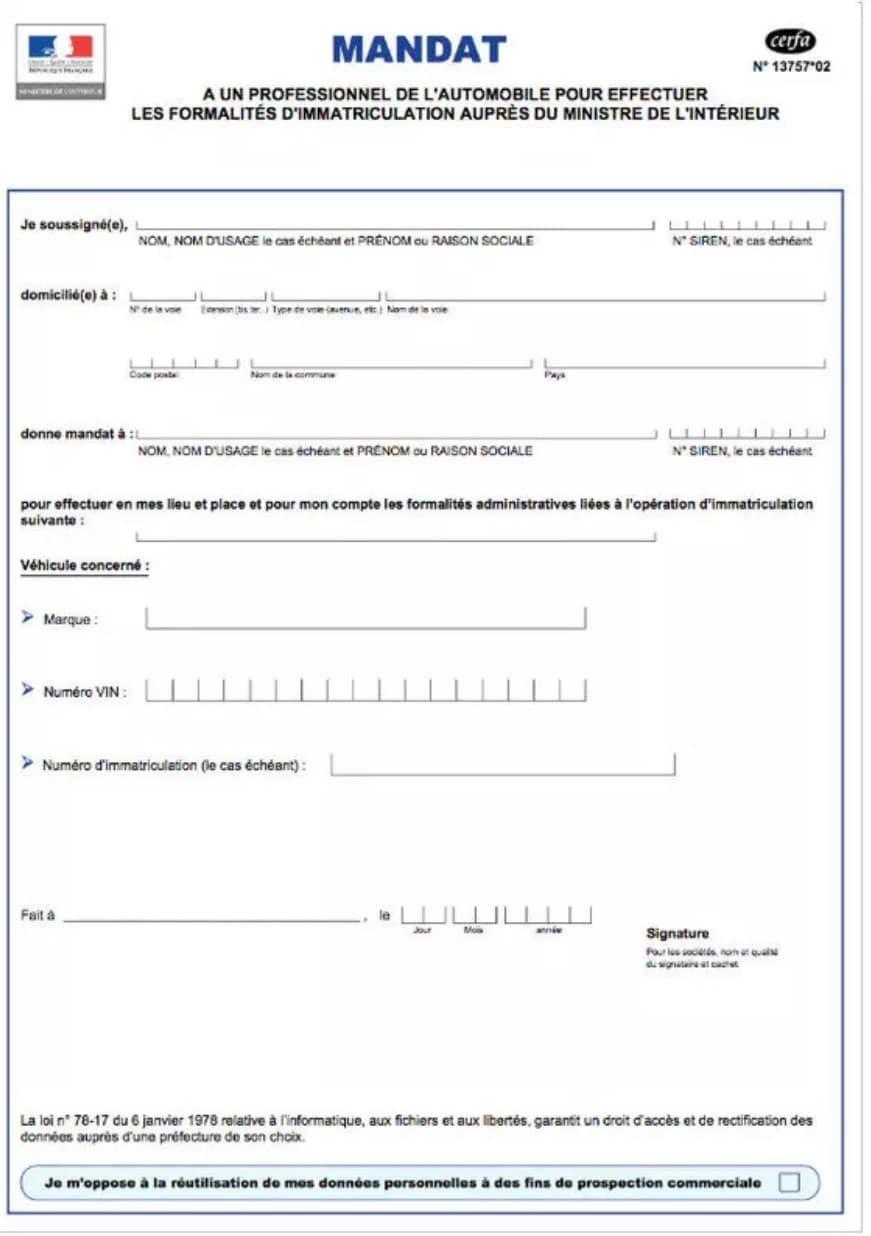 mandat immatriculation carte grise