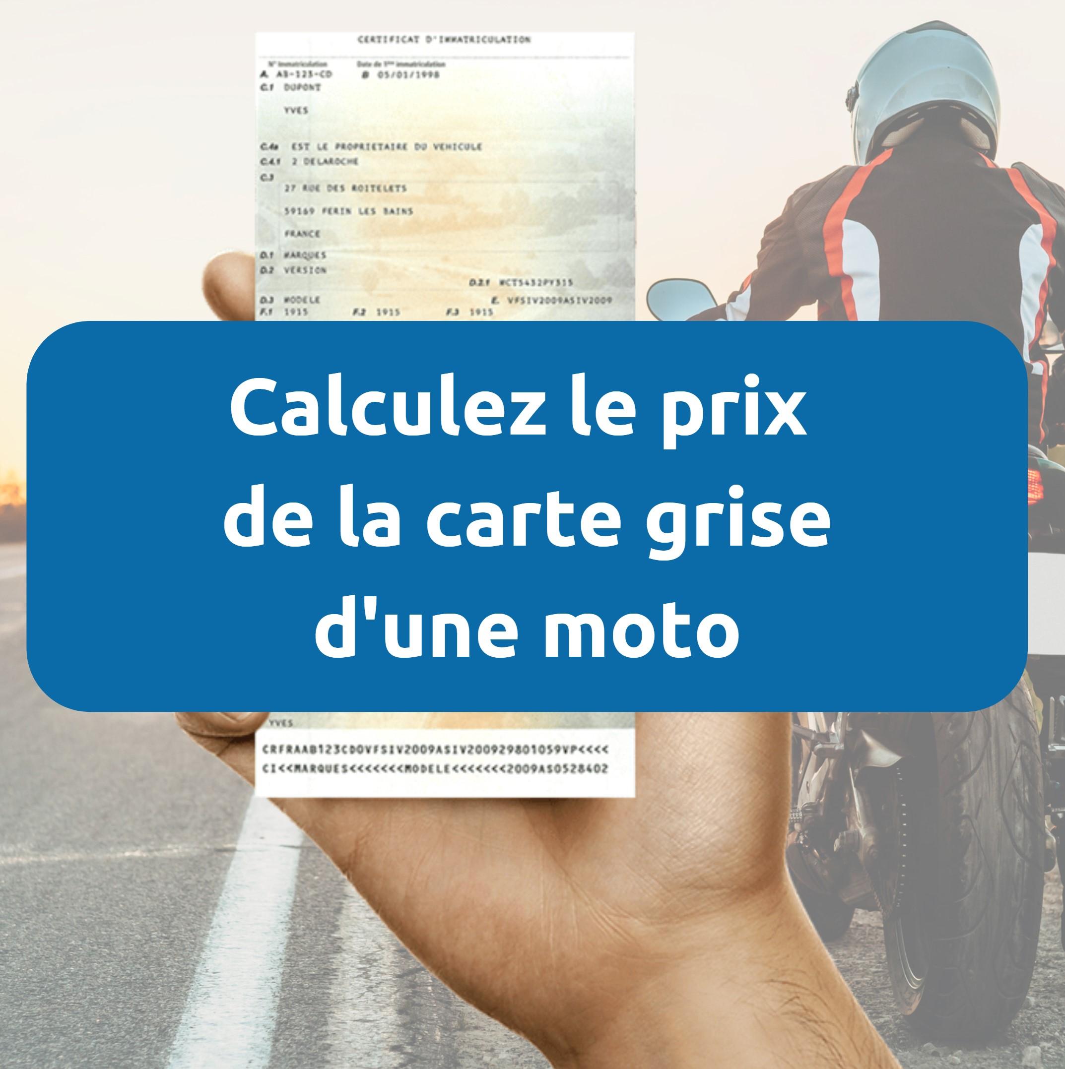 Prix carte grise moto
