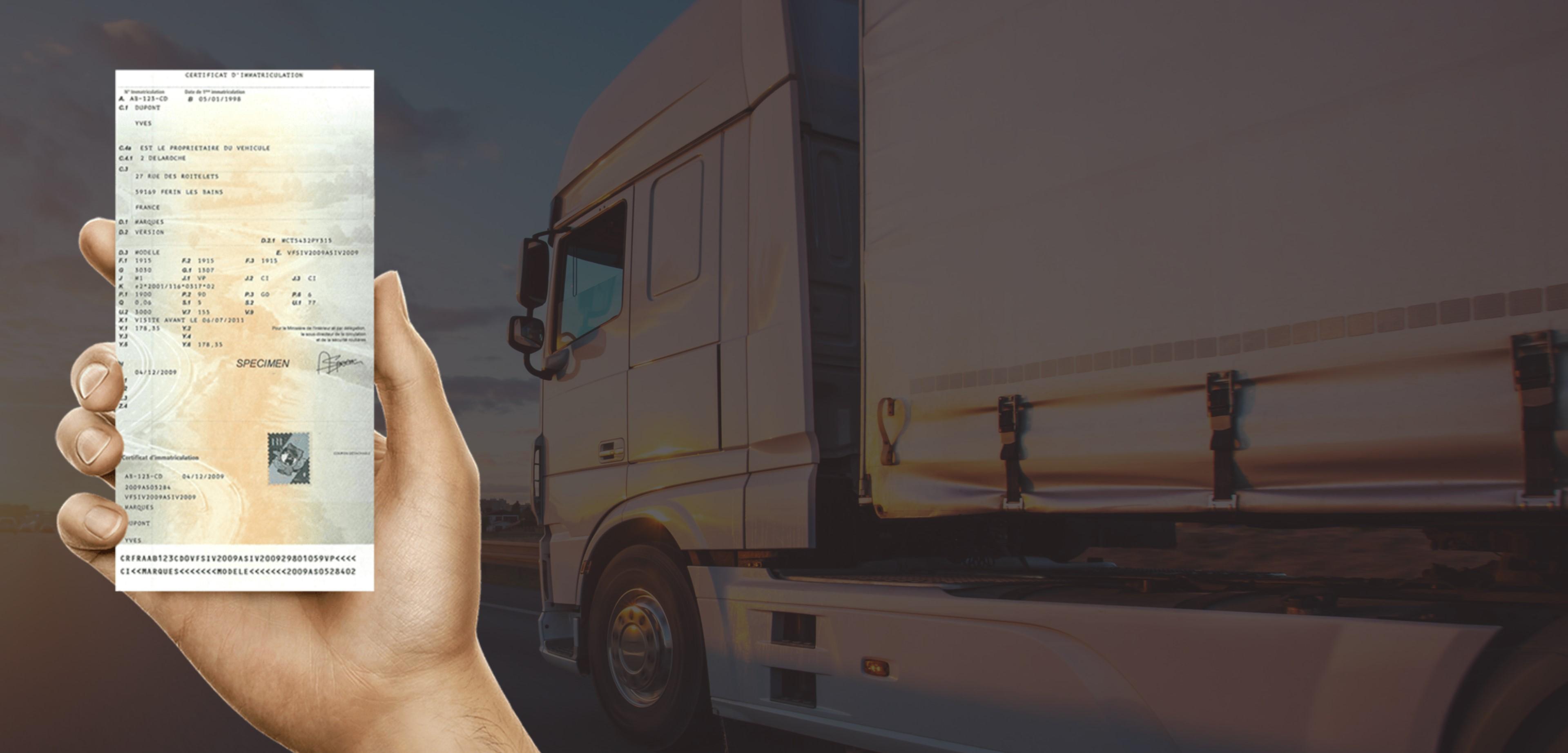 Changement de propriétaire carte grise camion