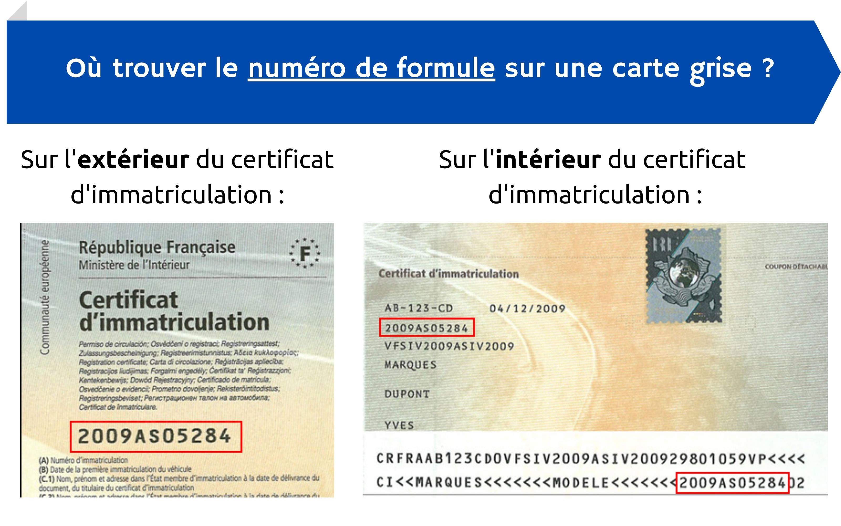 numéro formule carte grise certificat immatriculation
