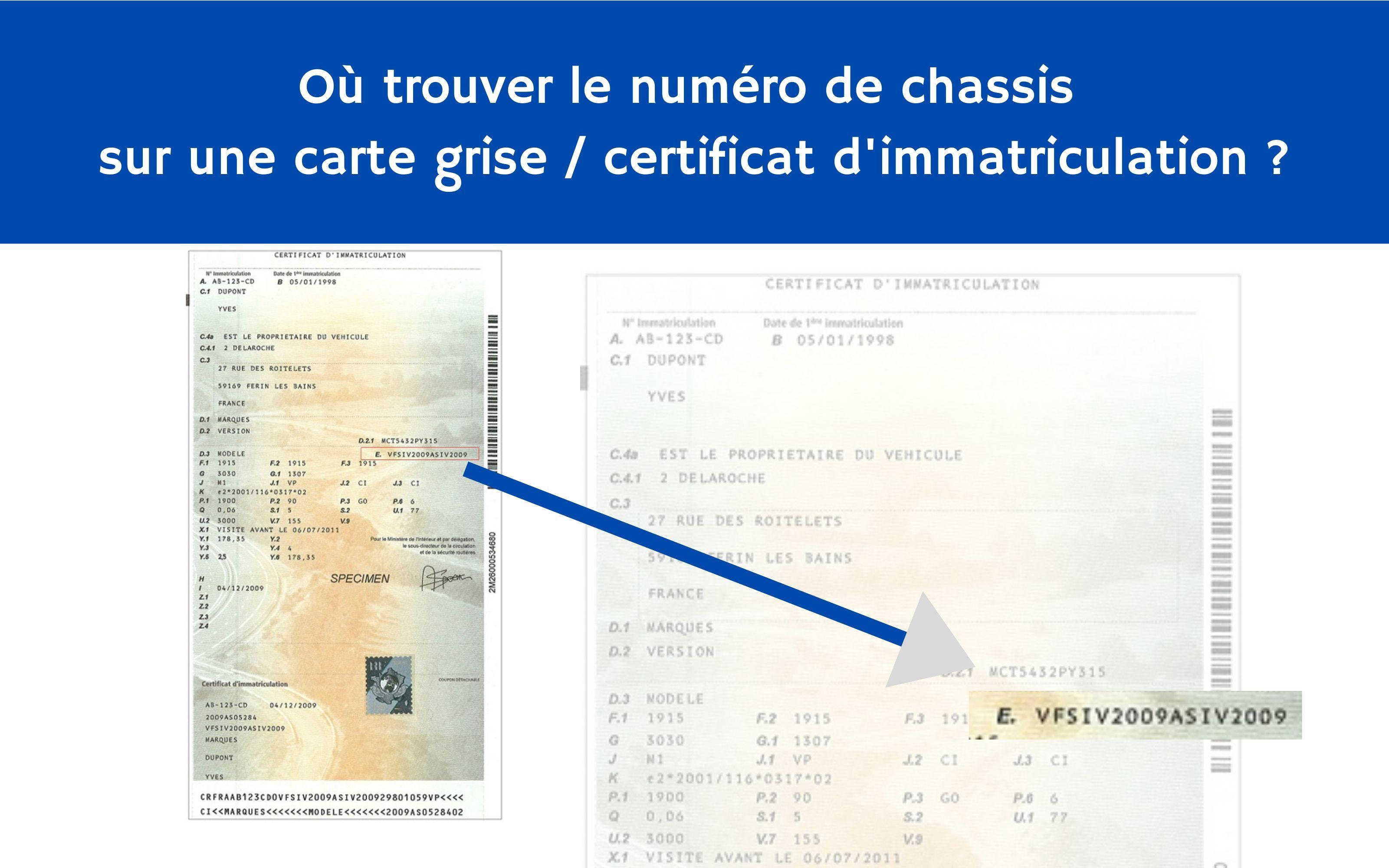 où trouver le numéro de chassis sur une carte grise / certificat d'immatriculation