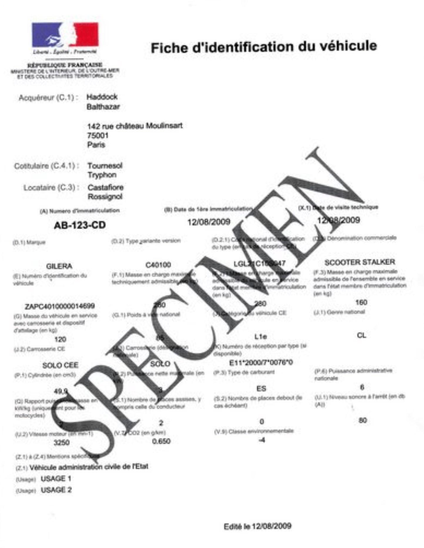 specimen fiche d'identification du véhicule