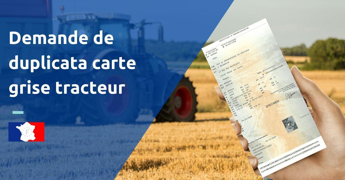 duplicata certificat immatriculation tracteur