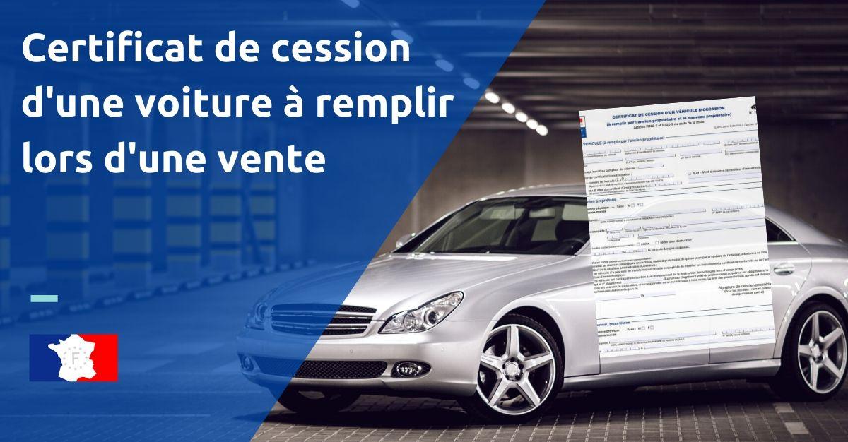 certificat de cession d'une voiture