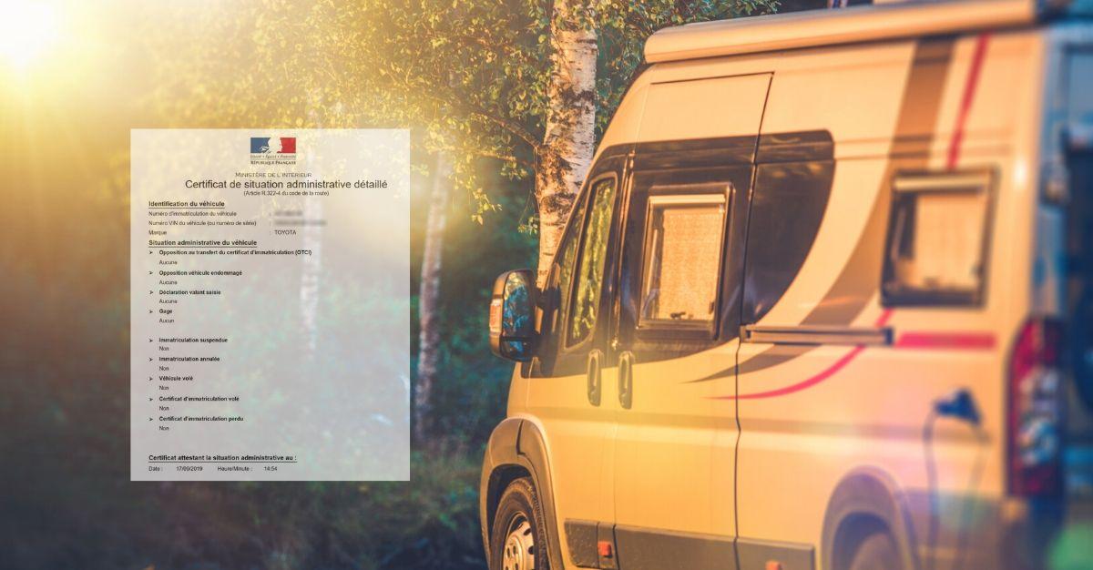 Certificat de non gage camping car