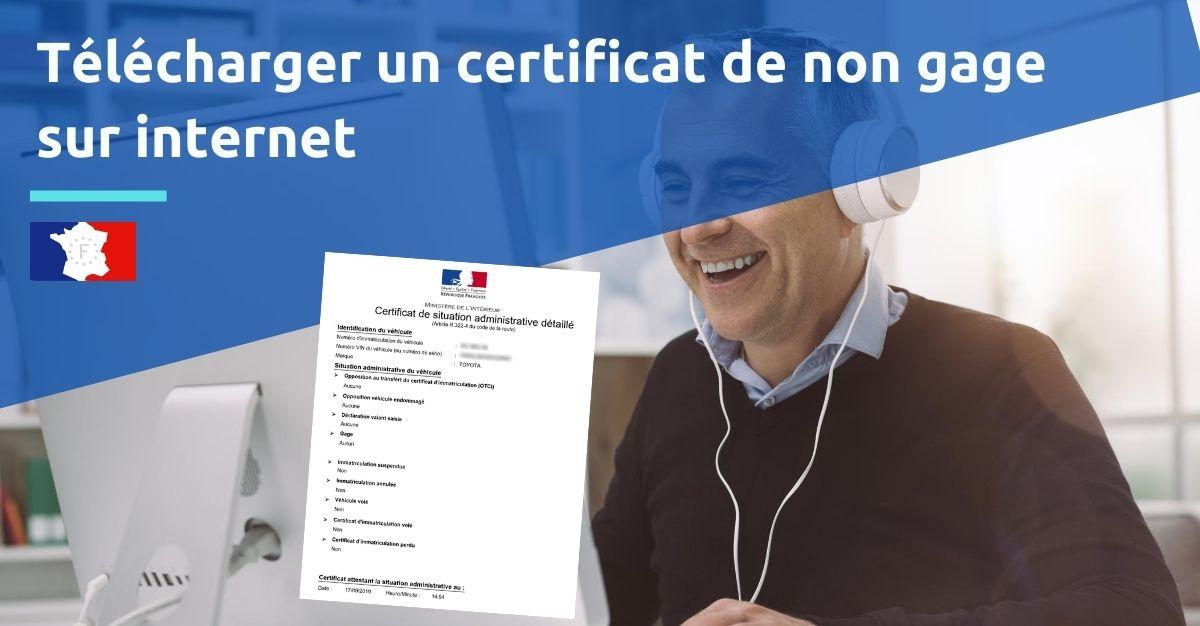 Télécharger certificat de non gage