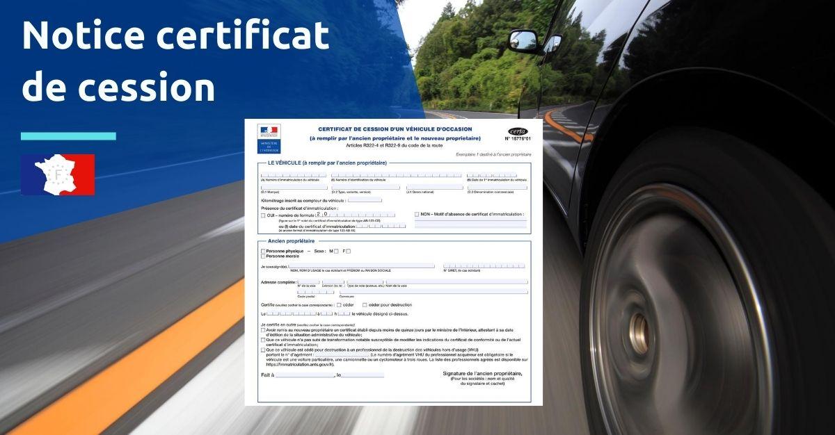 notice certificat de cession