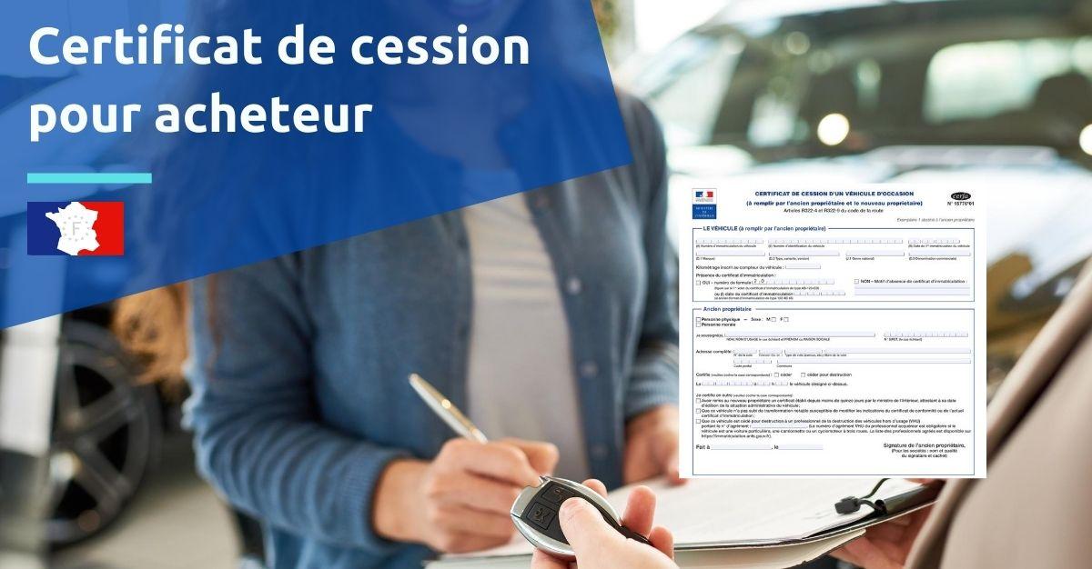 certificat de cession pour acheteur
