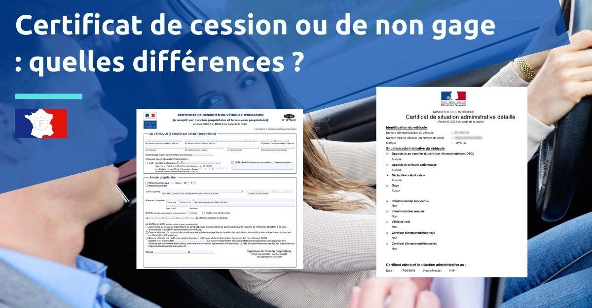 certificat de cession ou de non gage