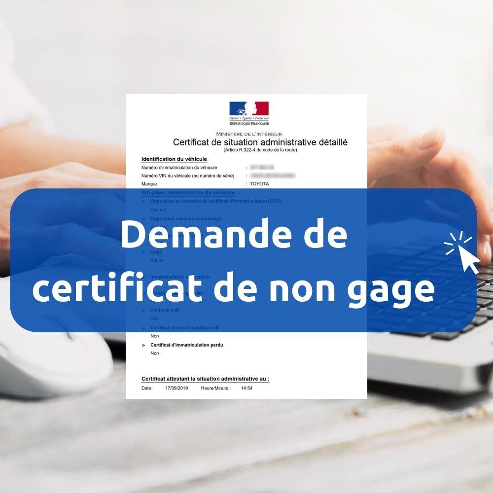 Certificat De Non Gage Pour Deux Roues Demande En Ligne