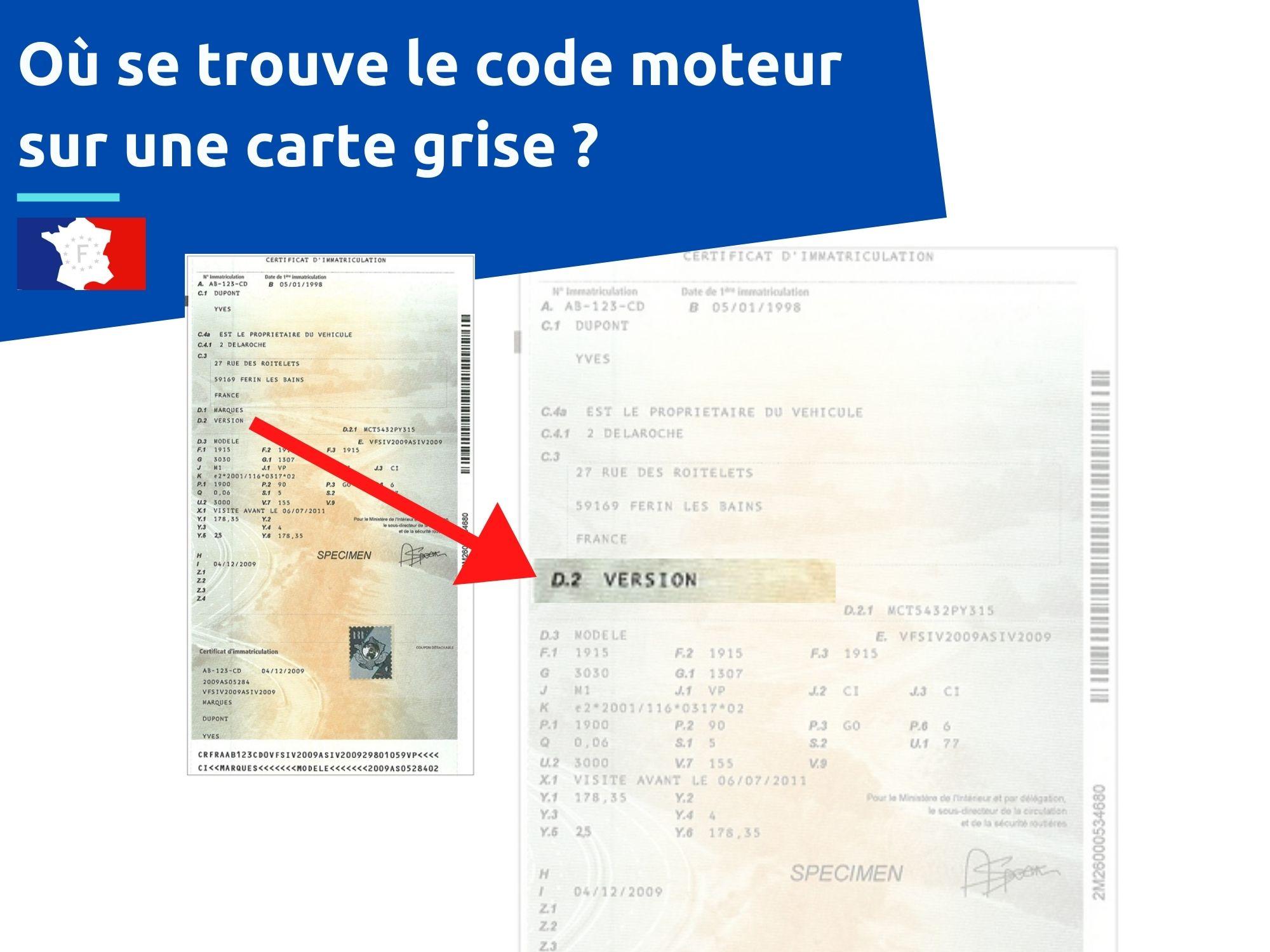 où trouver le code moteur carte grise