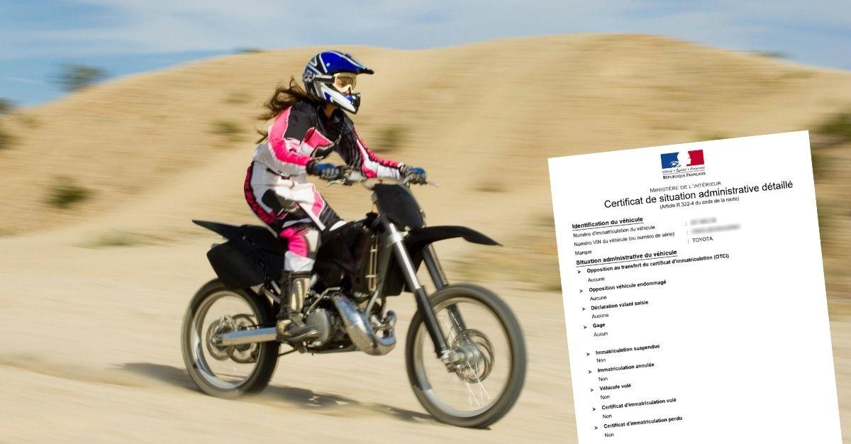 Certificat de non gage moto cross