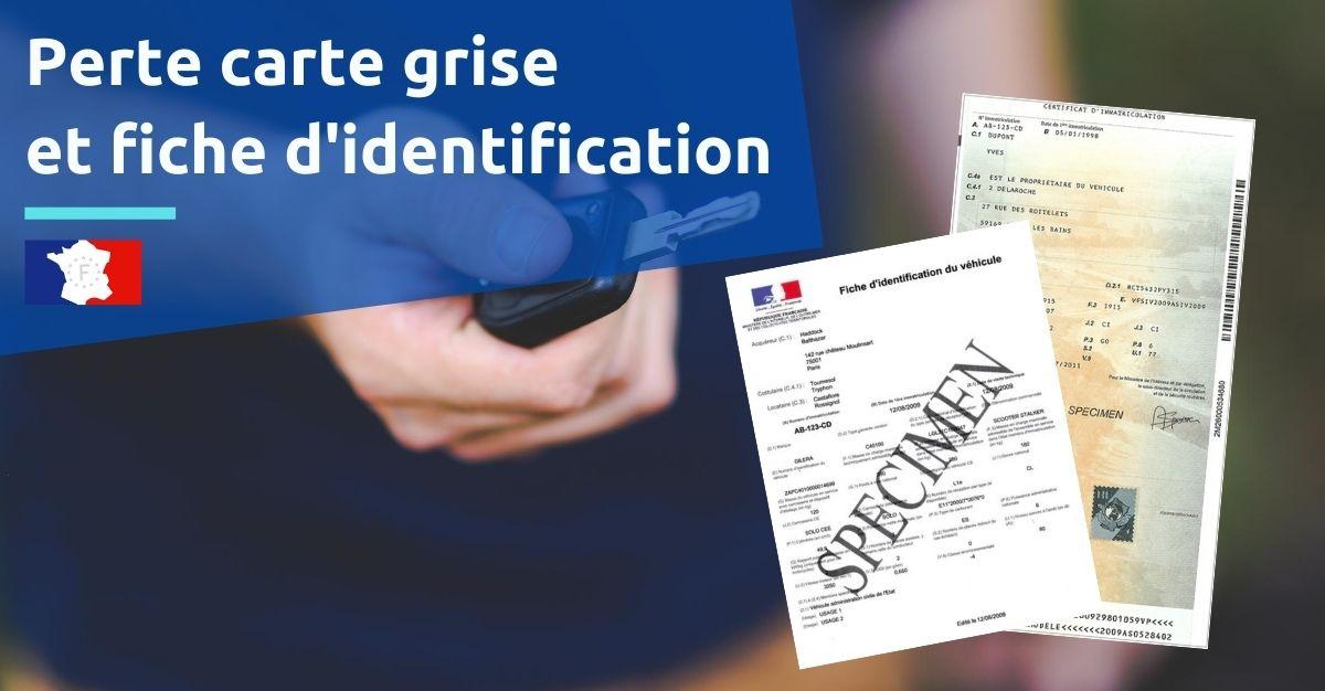 perte carte grise fiche d'identification