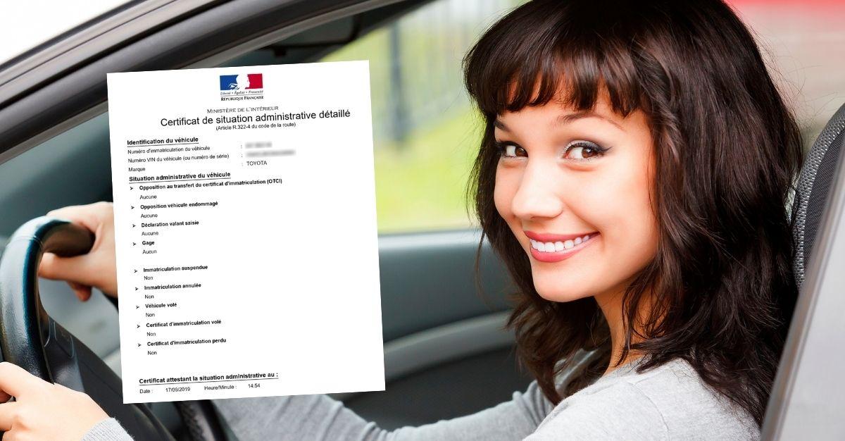Certificat de non gage juste avec la plaque d'immatriculation