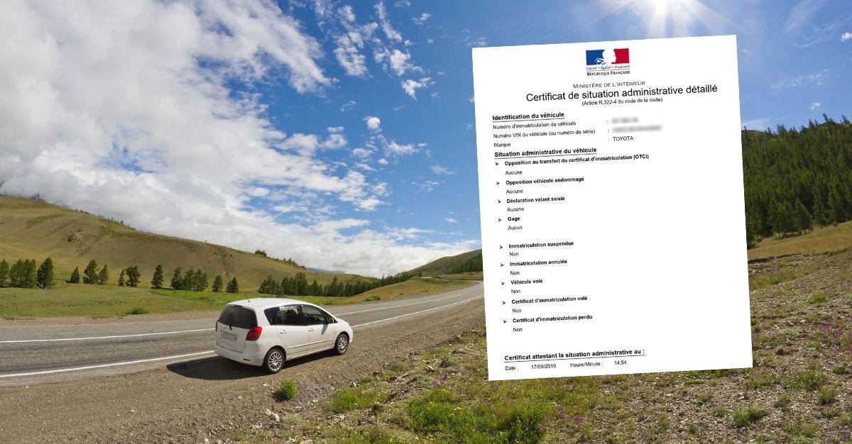 Certificat de non gage France