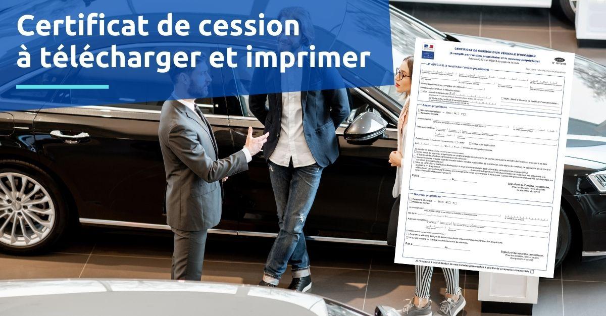 Certificat de cession formulaire à télécharger et imprimer