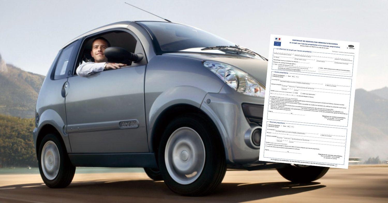 Certificat de cession d'une voiture sans permis
