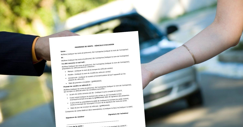 Promesse de vente d'un véhicule d'occasion entre particuliers