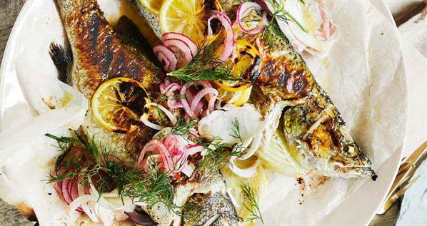 Barbecued Whole Barramundi With Fennel, Dill & Lemon Stuffing