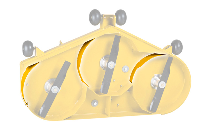 Image of the underside of a yellow deck with the mulch kit items highlighted.