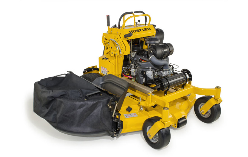 Image of mesh fabric bag mounted to the side of a yellow stand-on mower