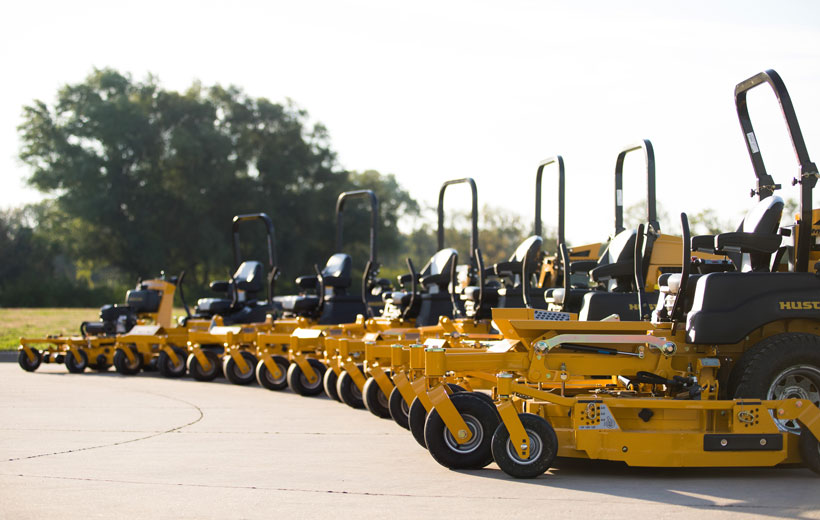 Image of many mowers in a row
