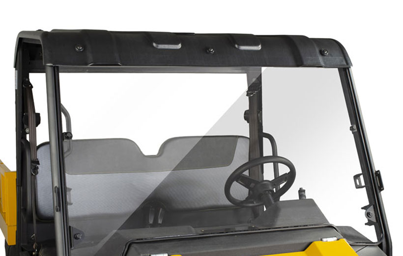 Image of windshield on a utility vehicle with a white background