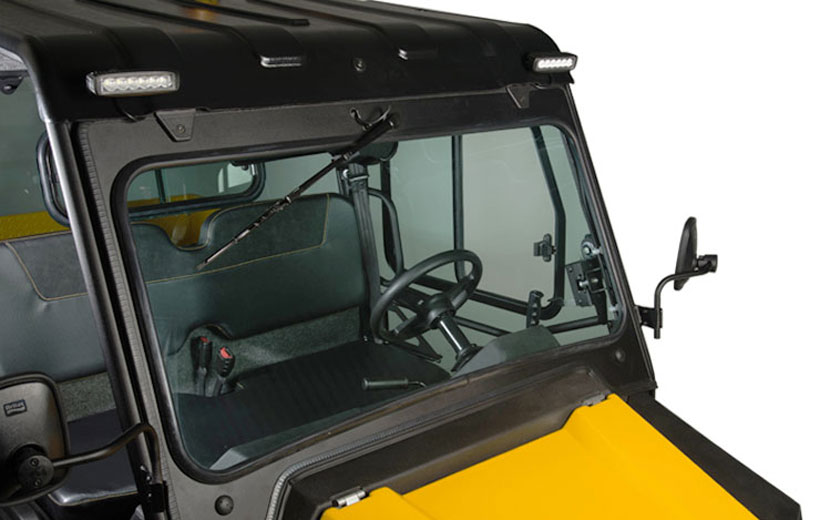 Image of a front windshield of a utility vehicle