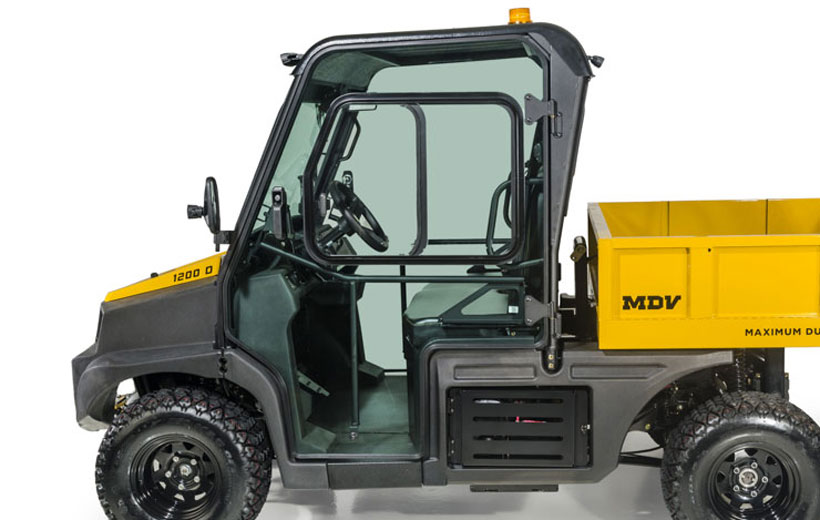 Image of the side of a utility vehicle showing its door