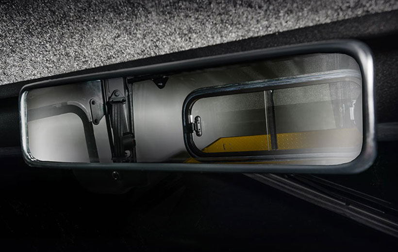 Image of a rear view mirror in a utility vehicle