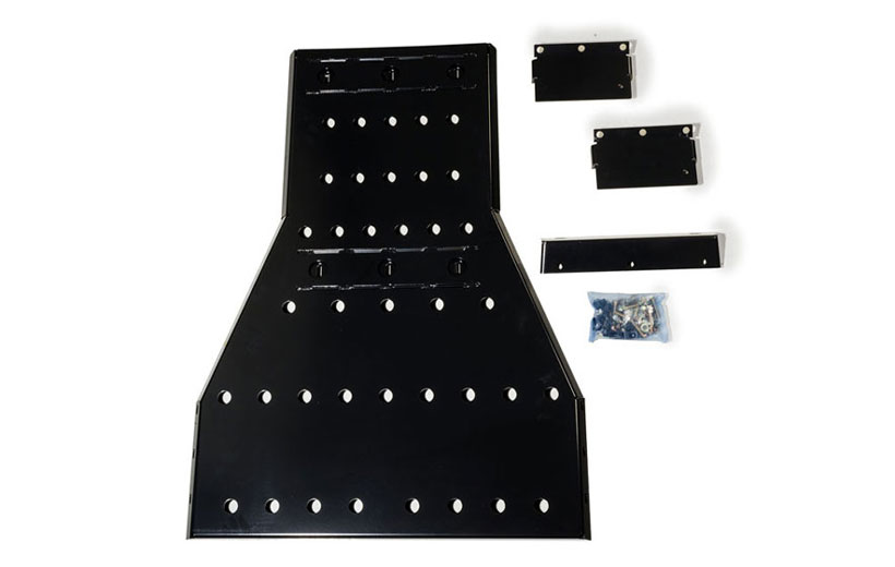 Image of the parts to the skid plate on a white background.
