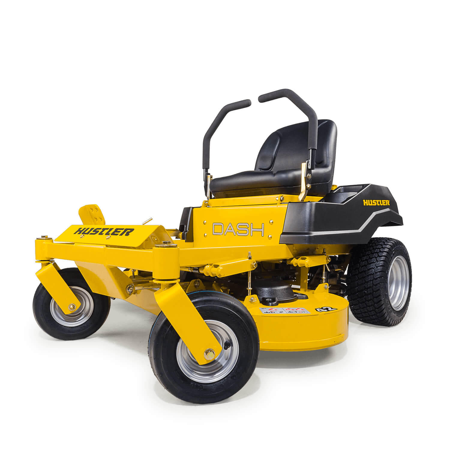 Front three quarters of a yellow mower