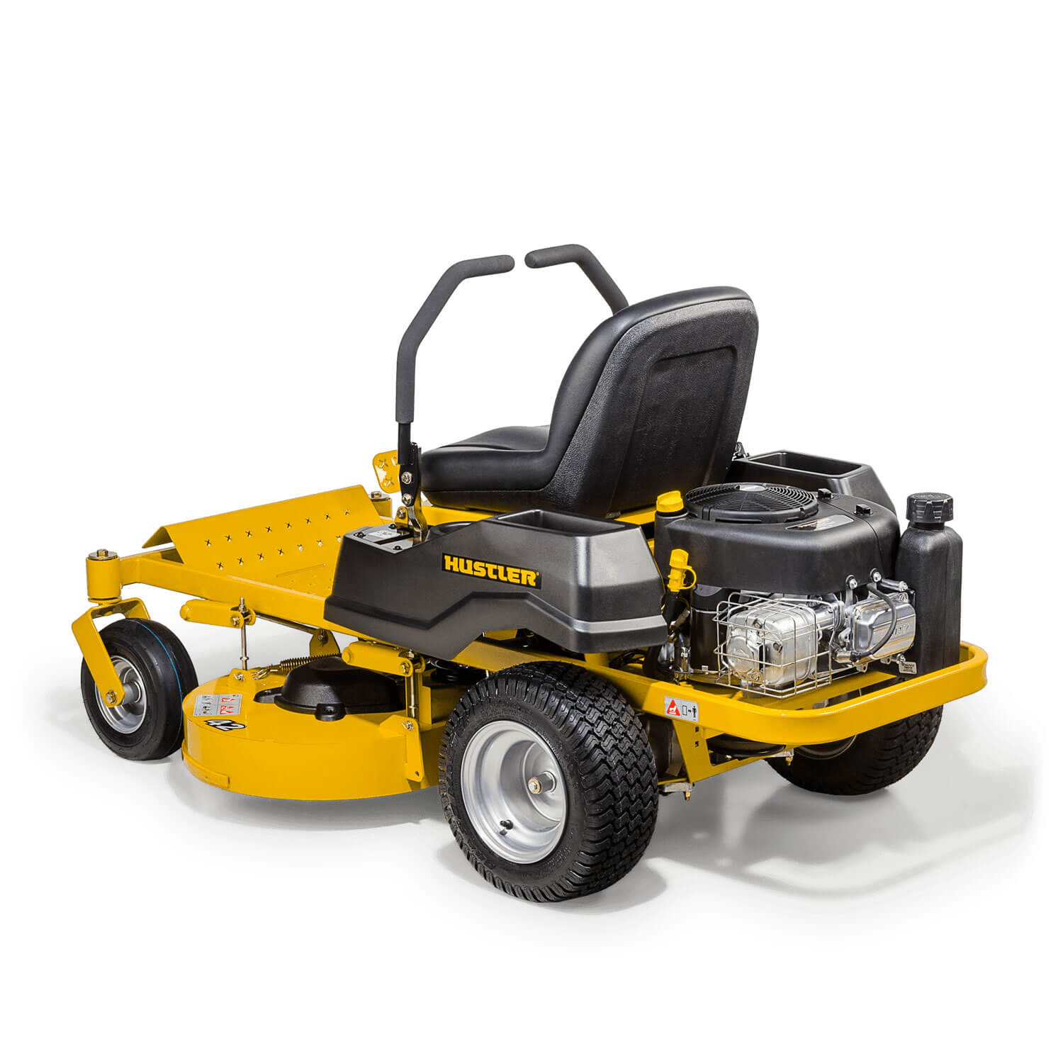Image of the rear three quarters of a yellow mower showing the trim edge of the deck