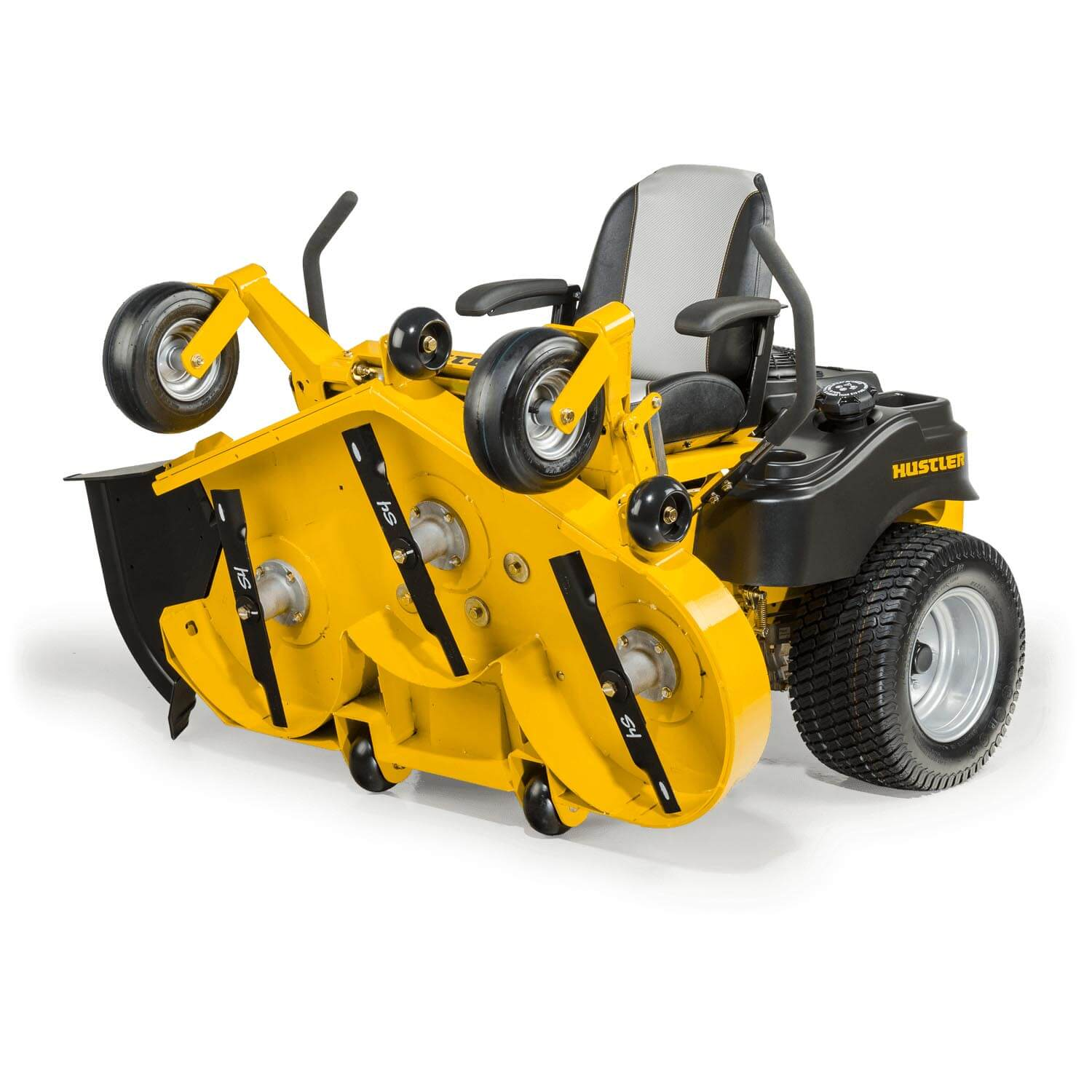 Image of the front three quarters of a yellow riding mower with the frame folded to see the underside of the mower deck