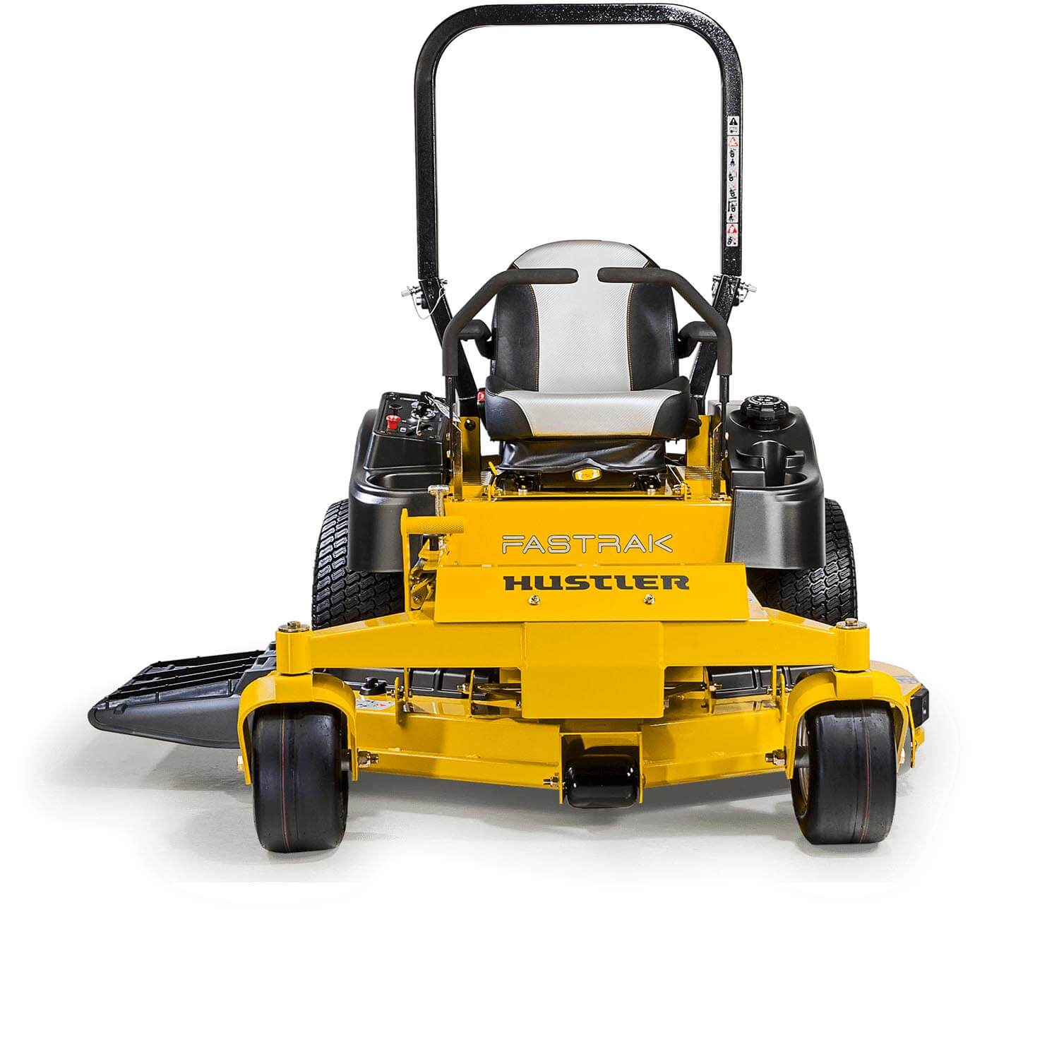 Image of the front of a yellow riding mower