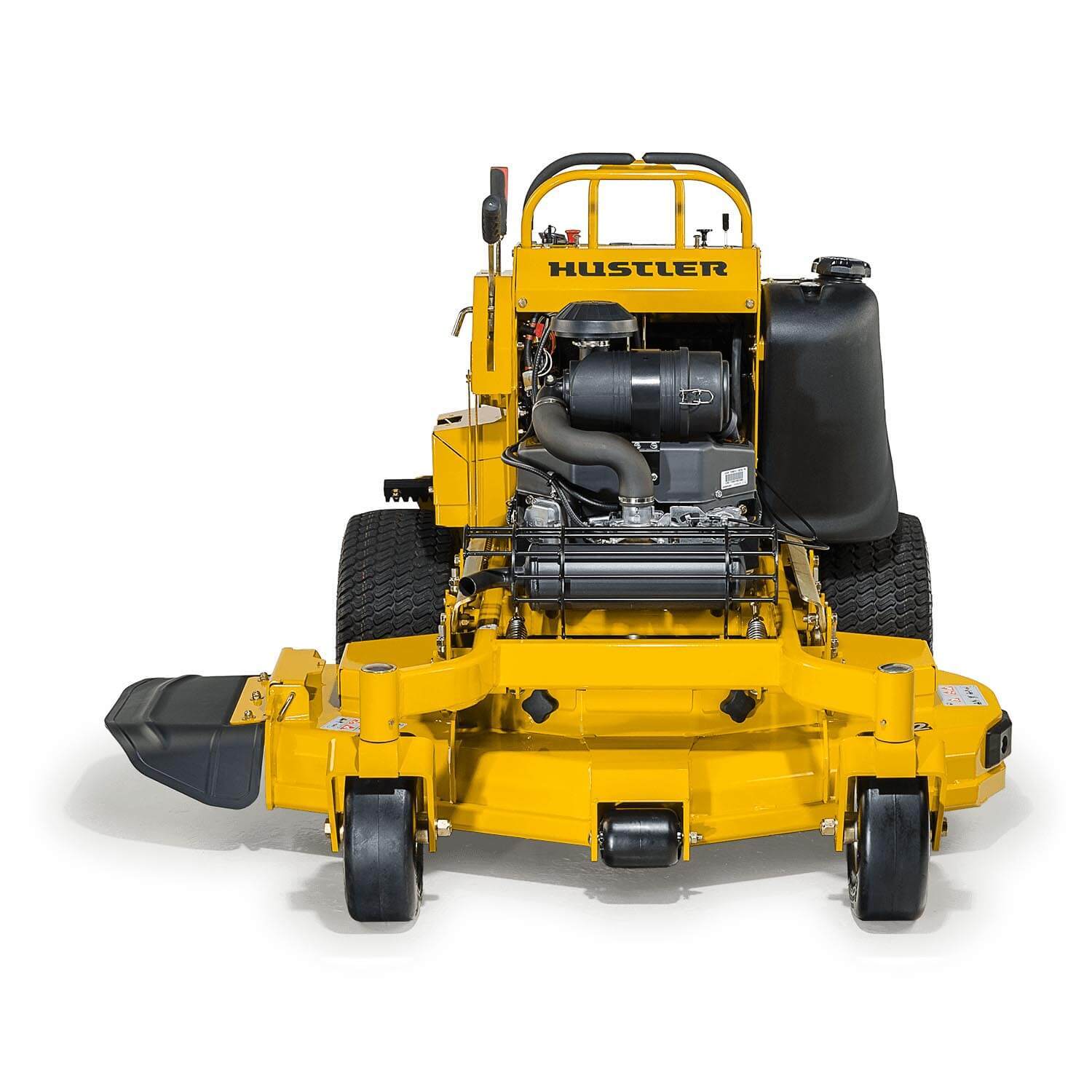 Image of the front of a yellow stand-on mower