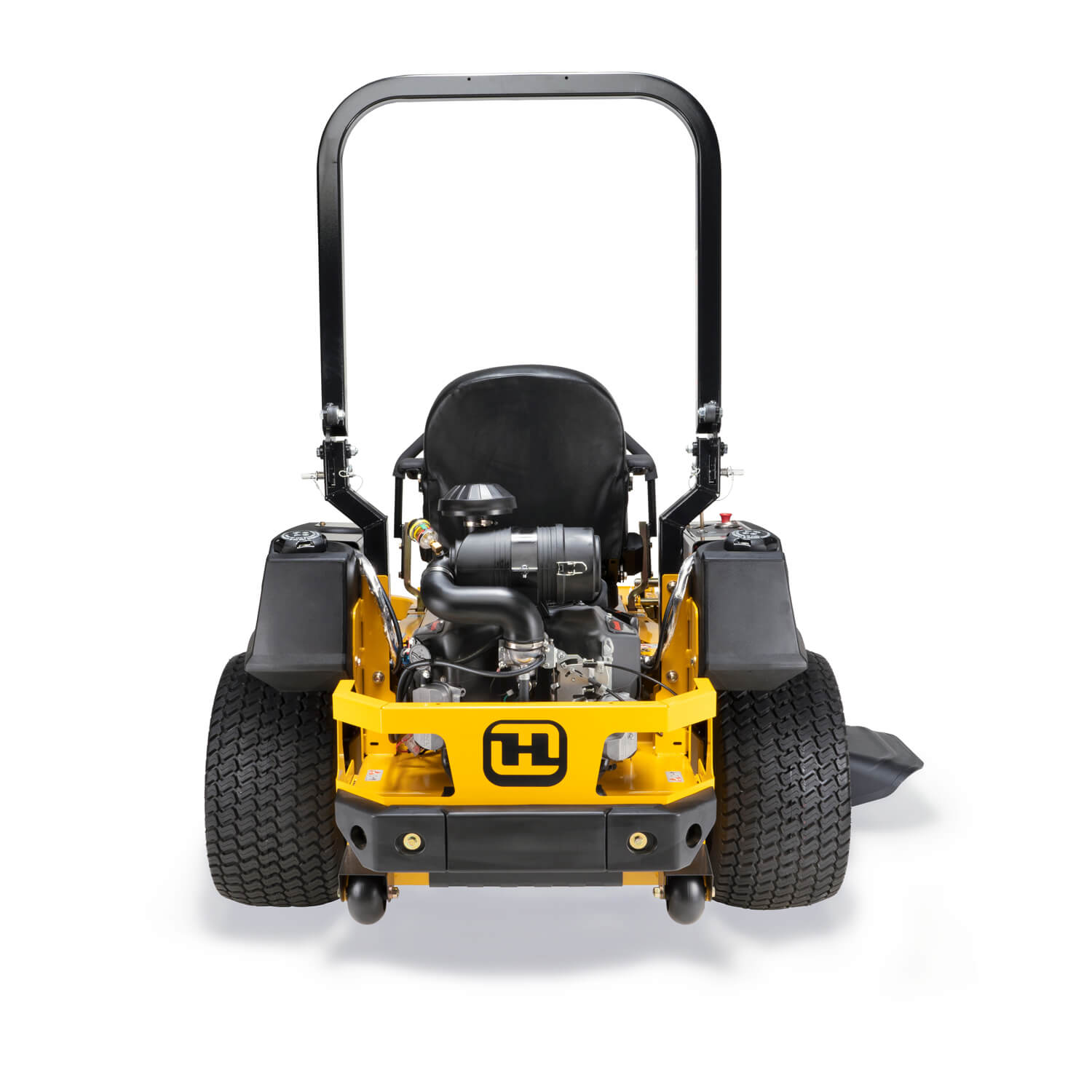 Image of the rear of a yellow zero-turn mower