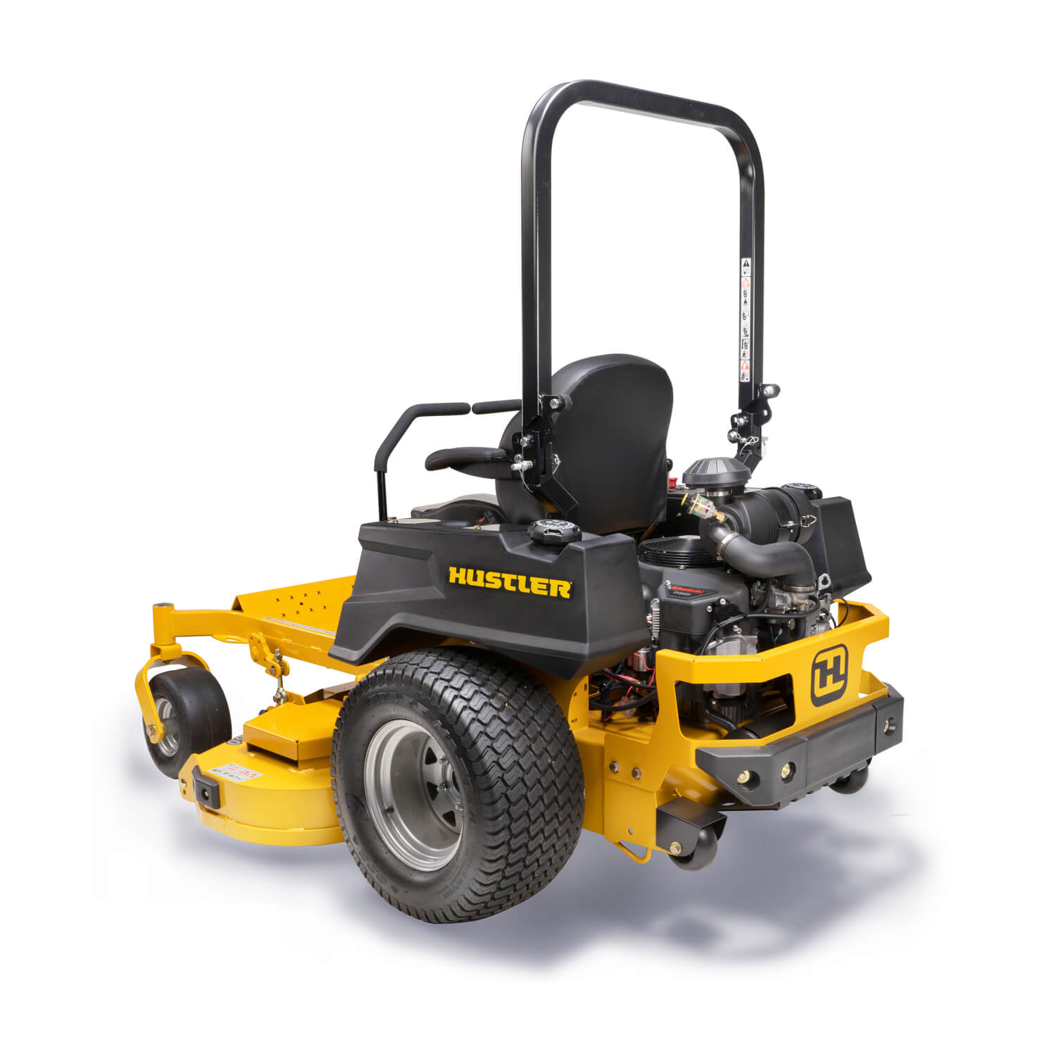Image of the rear three quarters of a yellow zero-turn mower showing the trim side of the deck