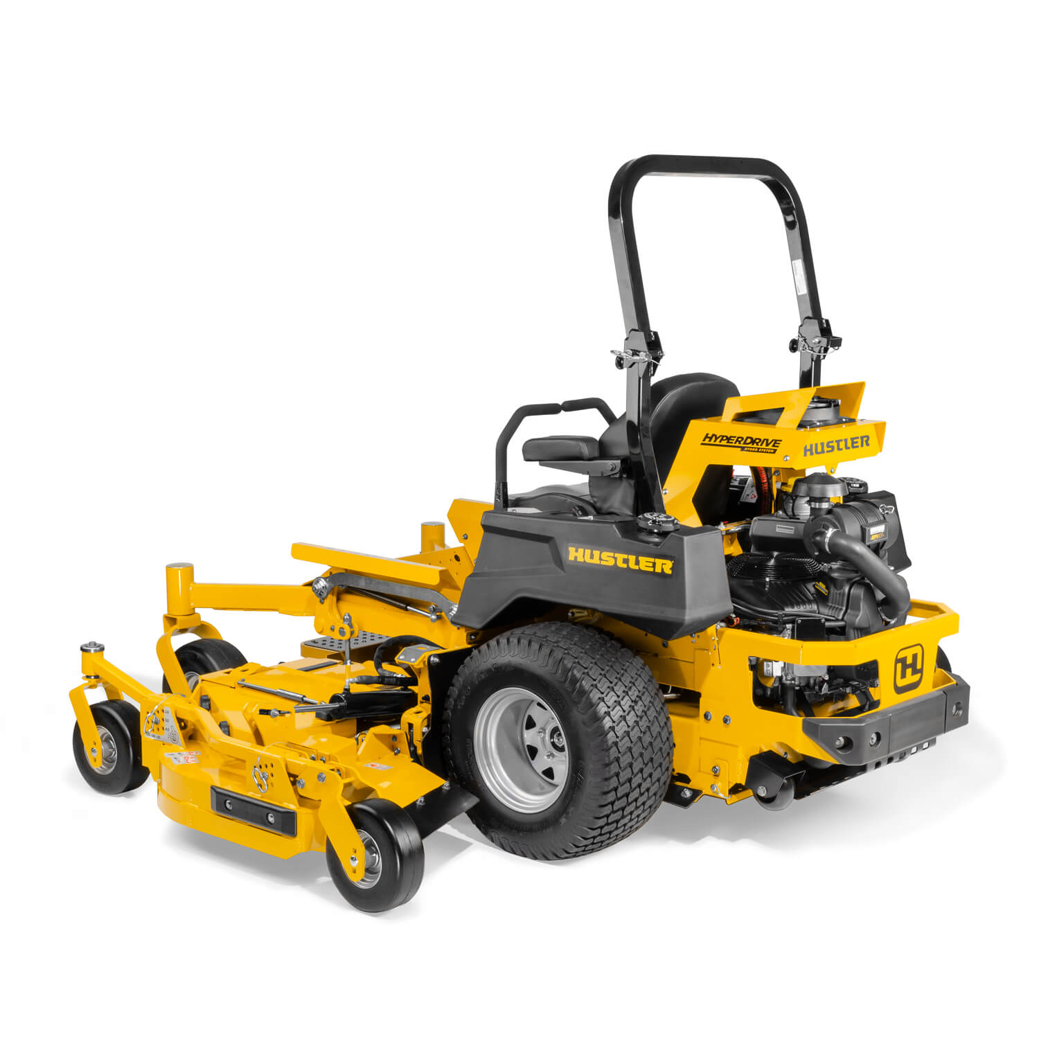 Image of the rear three quarters of a yellow zero-turn mower
