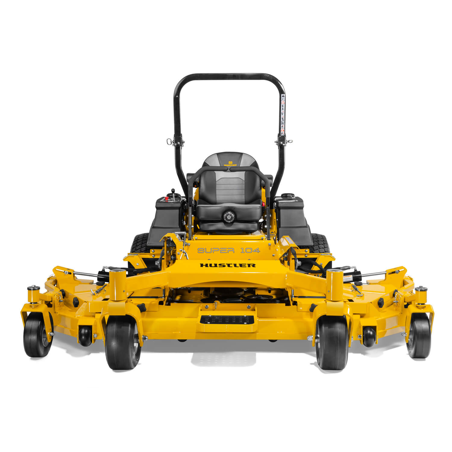 Image of the front of a yellow zero-turn mower with wing decks attached to the main deck